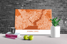 Gallery Wrapped Map Canvas of Istanbul Turkey - Simple Burnt