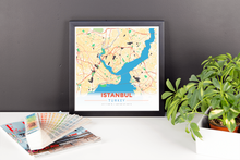 Framed Map Poster of Istanbul Turkey - Modern Colorful
