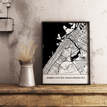 Premium Map Poster of Dubai United Arab Emirates - Simple Black Ink - Unframed