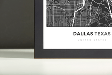 Framed Map Poster of Dallas Texas - Simple Contrast - Dallas Map Art