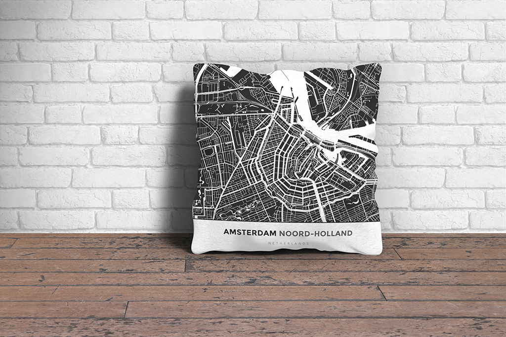 Map Throw Pillow of Amsterdam Noord-Holland - Simple Contrast