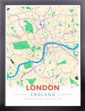 Framed Map Poster of London England - Modern Colorful