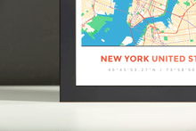 Framed Map Poster of New York United States - Simple Colorful