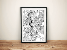 Premium Map Poster of Rome Italy - Subtle Black Ink - Unframed
