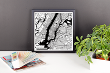 Framed Map Poster of New York United States - Subtle Black Ink