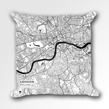 Map Throw Pillow of London England - Subtle Black Ink