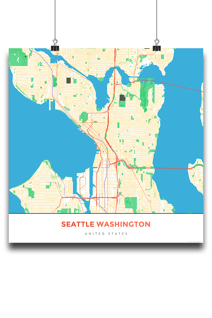 Premium Map Poster Of Seattle Washington Map Art Travel Decor