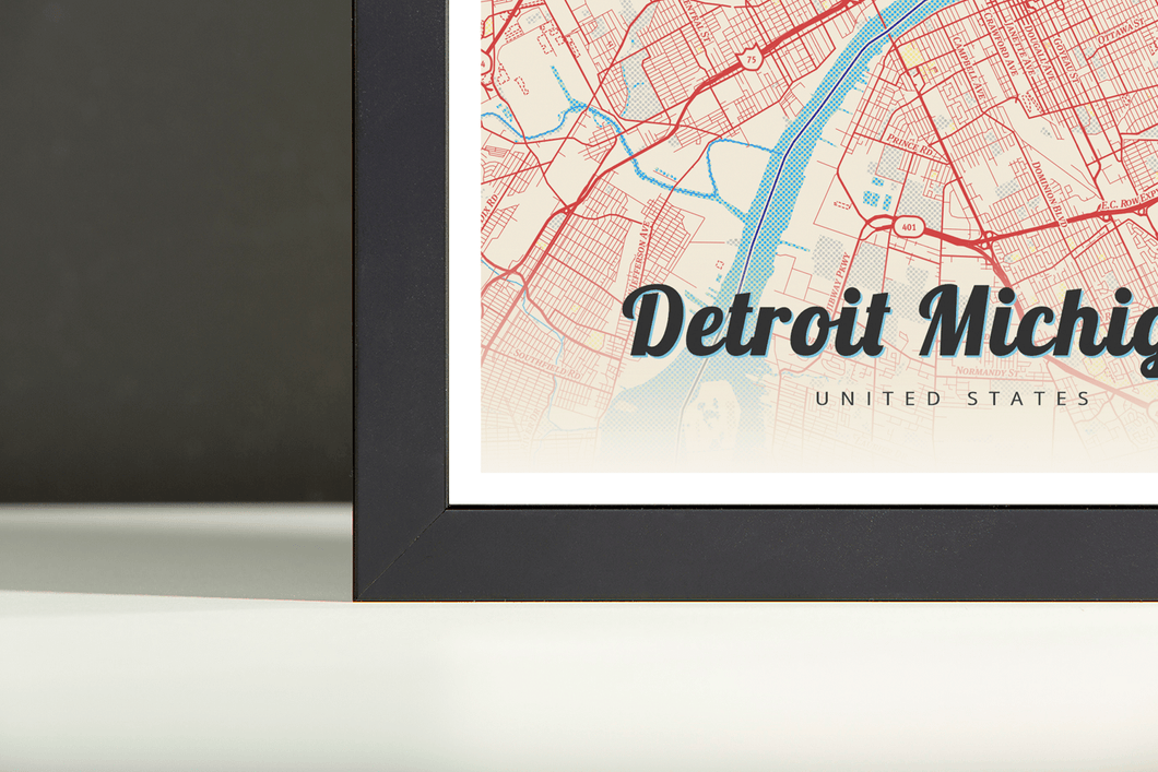 Framed Map Poster of Detroit Michigan - Lobster Retro - Detroit Map Art
