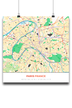 Premium Map Poster of Paris France - Simple Colorful - Unframed