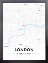 Framed Map Poster of London England - Modern Ski Map