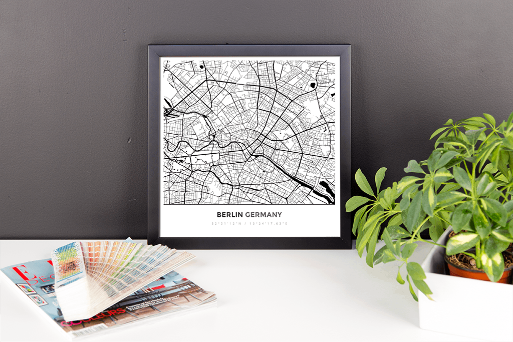Framed Map Poster of Berlin Germany - Simple Black Ink - Berlin Map Art