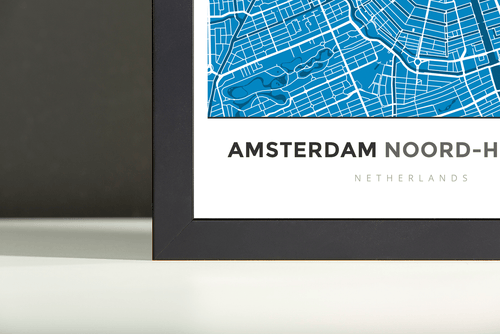 Framed Map Poster of Amsterdam Noord-Holland - Simple Blue Contrast