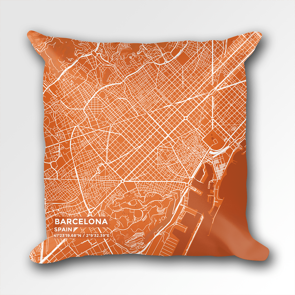 Map Throw Pillow of Barcelona Spain - Subtle Burnt