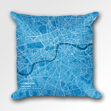 Map Throw Pillow of London England - Subtle Blue Contrast
