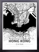 Framed Map Poster of Hong Kong China - Modern Black Ink