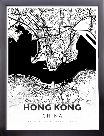 Framed map poster of hong kong china map art travel decor framed map poster of hong kong china map art travel decor mapprints gumiabroncs Choice Image