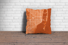 Map Throw Pillow of Miami Florida - Subtle Burnt - Miami Map Art