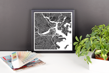 Framed Map Poster of Boston Massachusetts - Subtle Contrast - Boston Map Art