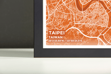 Framed Map Poster of Taipei Taiwan - Subtle Burnt