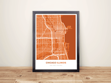 Framed Map Poster of Chicago Illinois - Simple Burnt - Chicago Map Art