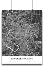 Premium Map Poster of Bangkok Thailand - Simple Contrast - Unframed