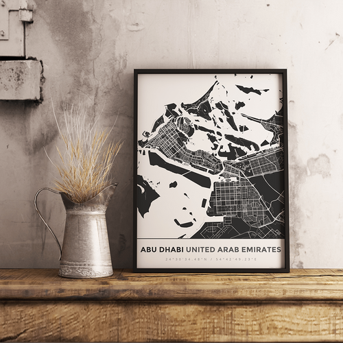 Premium Map Poster of Abu Dhabi United Arab Emirates - Simple Contrast - Unframed - Abu Dhabi Map Art