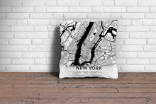 Map Throw Pillow of New York United States - Modern Black Ink