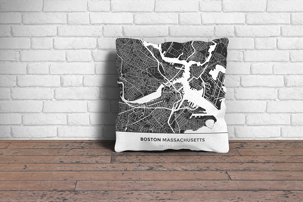 Map Throw Pillow Of Boston Massachusetts Map Art Travel Decor