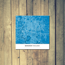 Gallery Wrapped Map Canvas of Bangkok Thailand - Simple Blue Contrast