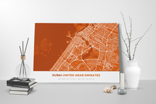 Gallery Wrapped Map Canvas of Dubai United Arab Emirates - Simple Burnt