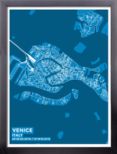 Framed Map Poster of Venice Italy - Subtle Blue Contrast - Venice Map Art