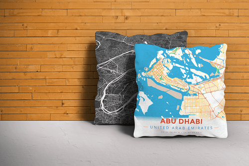 Map Throw Pillow of Abu Dhabi United Arab Emirates - Modern Colorful - Abu Dhabi Map Art