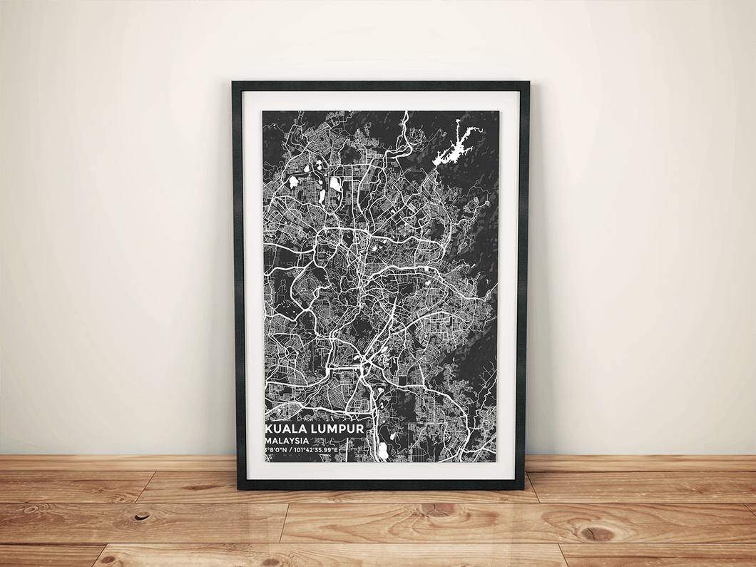 Premium Map Poster of Kuala Lumpur Malaysia - Subtle Contrast - Unframed