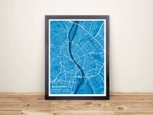 Framed Map Poster of Budapest Hungary - Subtle Blue Contrast - Budapest Map Art