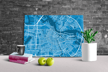 Gallery Wrapped Map Canvas of Amsterdam Noord-Holland - Subtle Blue Contrast
