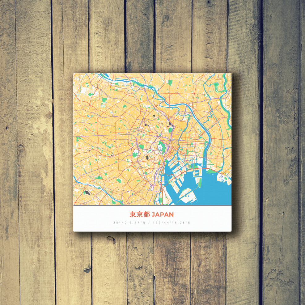 Gallery Wrapped Map Canvas of Tokyo Japan - Map Art & Travel Decor ...