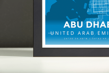 Framed Map Poster of Abu Dhabi United Arab Emirates - Modern Blue Contrast - Abu Dhabi Map Art