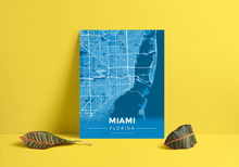 Premium Map Poster of Miami Florida - Modern Blue Contrast - Unframed - Miami Map Art