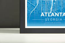 Framed Map Poster of Atlanta Georgia - Modern Blue Contrast - Atlanta Map Art