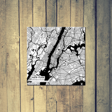 Gallery Wrapped Map Canvas of New York United States - Subtle Black Ink