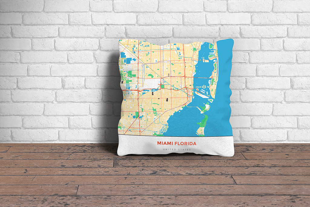 Map Throw Pillow of Miami Florida - Simple Colorful - Miami Map Art