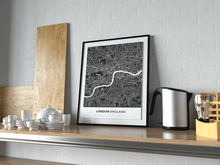 Premium Map Poster of London England - Simple Contrast - Unframed