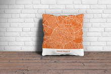 Map Throw Pillow of Paris France - Simple Burnt