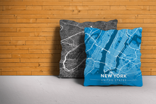 Map Throw Pillow of New York United States - Modern Blue Contrast