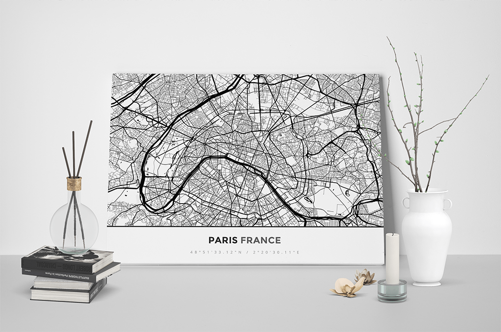 Gallery Wrapped Map Canvas of Paris France - Simple Black Ink