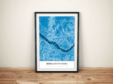 Premium Map Poster of Seoul South Korea - Simple Blue Contrast - Unframed