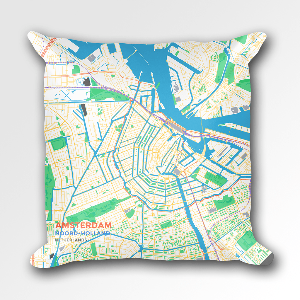 Map Throw Pillow of Amsterdam Noord-Holland - Subtle Colorful