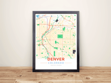 Framed Map Poster of Denver Colorado - Modern Colorful - Denver Map Art