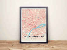 Framed Map Poster of Detroit Michigan - Diner Retro - Detroit Map Art