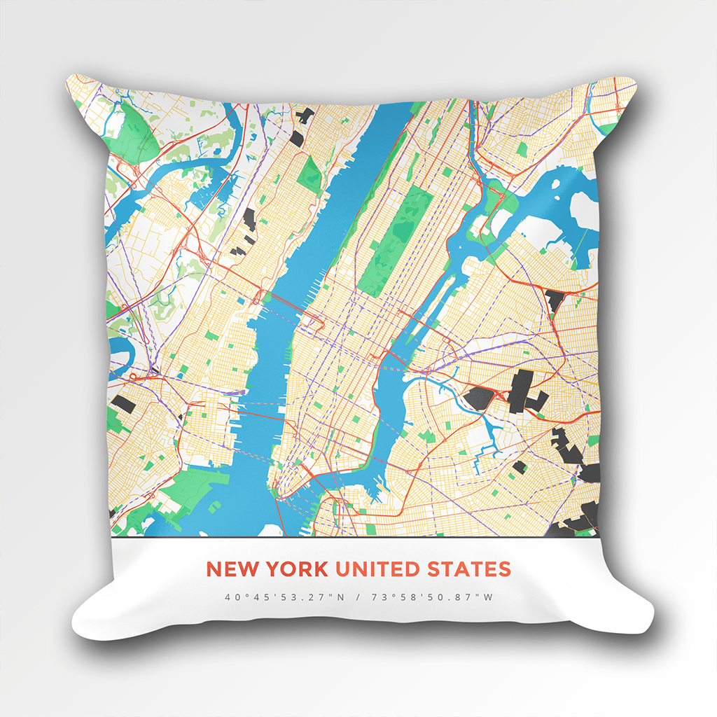 Map Throw Pillow of New York United States - Map Art & Travel Decor ...